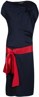 Alexander McQueen Navy Blue Silk Draped Contrast Tie Detail Sleeveless Dress M