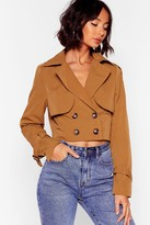 Nasty Gal Womens Don't Crop Me Now Double Breasted Trench Jacket - beige - 4