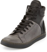 Kenneth Cole Double Up Colorblock High-Top Sneaker, Off White/Black