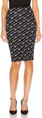 Versace Text Print Skirt in Black & White | FWRD