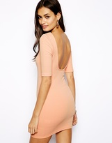 Glamorous Mini Dress In Textured Jersey With Scoop Back - Pink