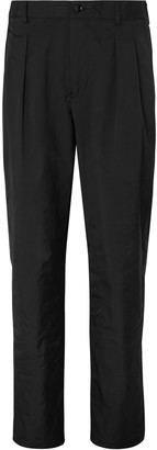 Valentino Black Tapered Pleated Tech-Twill Trousers