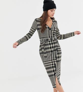 Bershka check button midi wrap dress-Multi