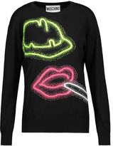 Moschino Neon intarsia-knit cotton sweater