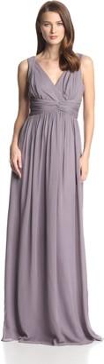 Donna Morgan Women's Julie Long Bra Friendly Chiffon Dress