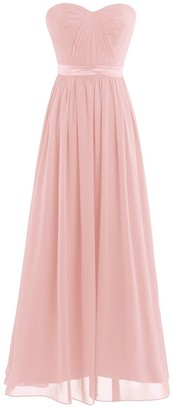 TiaoBug Women Strapless Chiffon Dress Empire Waist Bridesmaid Evening Prom Party Dresses Gowns Pearl Pink 10