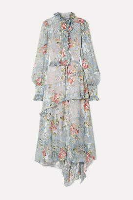 Preen by Thornton Bregazzi Ellie Ruffled Floral-print Fil Coupe Chiffon Midi Dress - Light blue