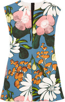 Marni Floral-print Cotton And Linen-blend Twill Top - Blue