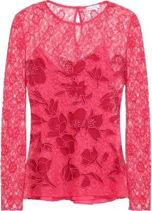 Oscar de la Renta Embroidered Corded Lace Top