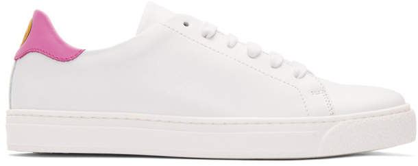 Anya Hindmarch White and Pink Smiley Sneakers