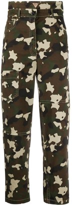 Pinko Cropped Camoulage-Print Trousers