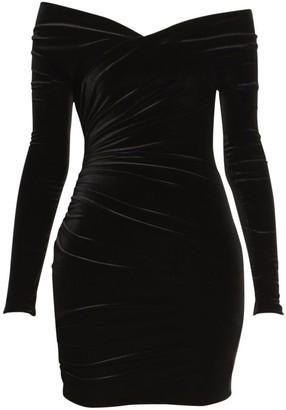 Alexandre Vauthier Velvet Jersey Ruched Off-The-Shoulder Dress
