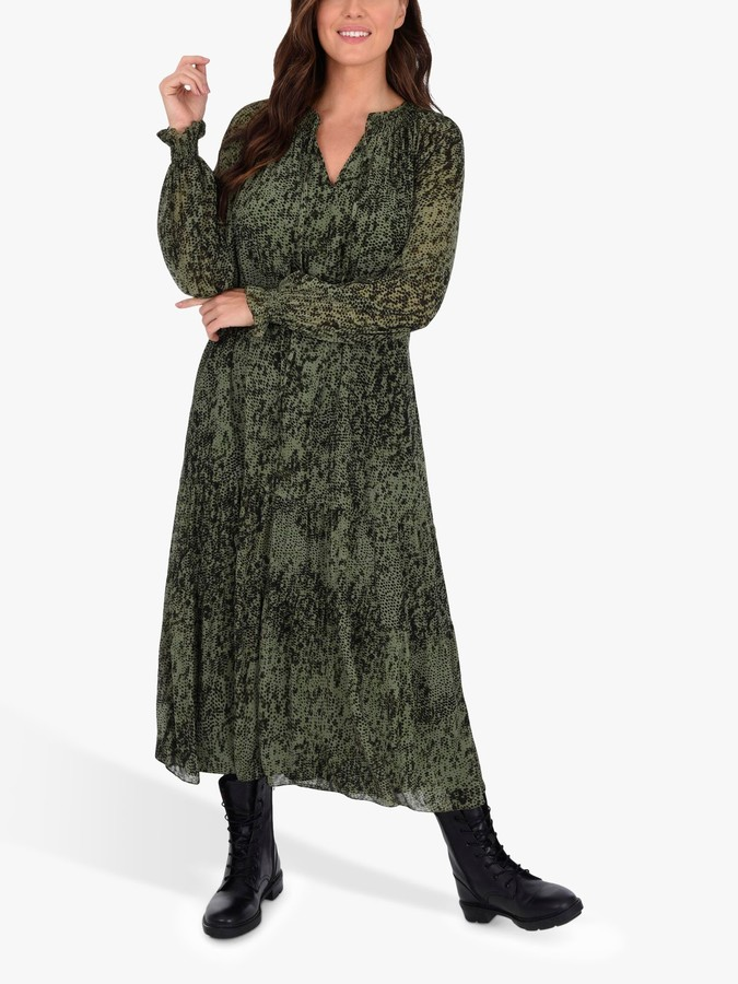 Live Unlimited Curve Tiered Mesh Boho Dress, Green/Multi