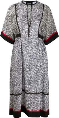 DSQUARED2 abstract print midi dress