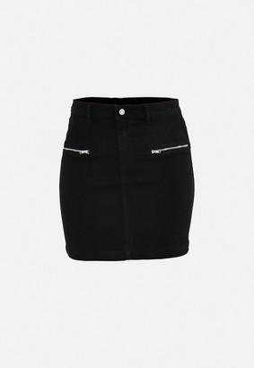 Missguided Plus Size Black Superstretch Zip Denim Mini Skirt