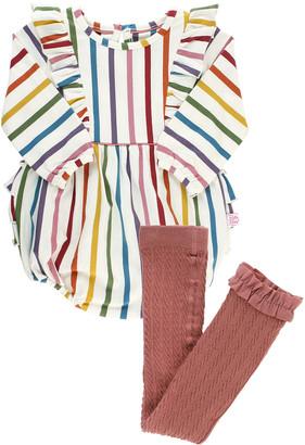 RuffleButts Girl's Rainbow Stripe Ruffle Bubble Romper w/ Rib Knit Tights, Size 0-4T