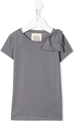 Douuod Kids short sleeve bow detail T-shirt