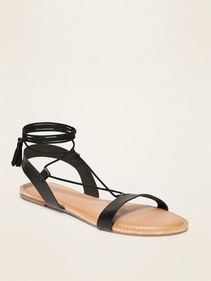 Old Navy Strappy Faux-Leather Lace-Up Sandals for Women