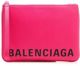 Balenciaga Logo Printed Clutch Bag