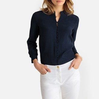 Anne Weyburn Mandarin Collar Long-Sleeved Shirt