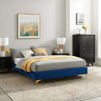 Mercer41 Seval Queen Upholstered Low Profile Platform Bed Color: Navy