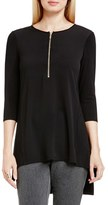 Vince Camuto Women's Half Zip Mixed Media Top