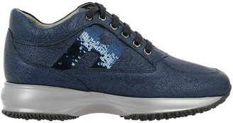 Hogan Sneakers Interactive Sneakers In Laminated Leather With Sequin H