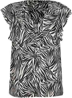 Wallis Black Animal Print Ruffle Front Blouse