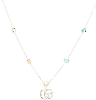 Gucci GG Marmont mother-of-pearl and topaz-embellished sterling silver necklace