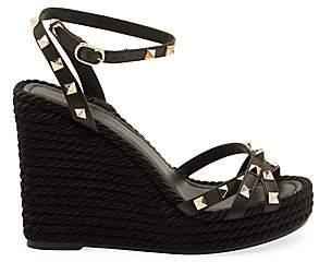Valentino Women's Garavani Rockstud Torchon Leather Espadrille Wedge Sandals