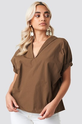 NA-KD Oversized Puff Short Sleeve Shirt