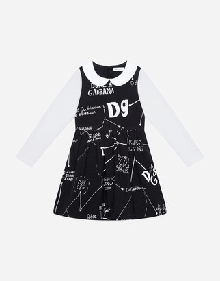 Dolce & Gabbana Short Interlock Dress With Logo Print