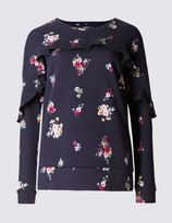 Marks and Spencer Pure Cotton Floral Print Sweatshirt