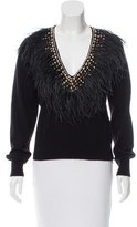 Naeem Khan Feather-Trimmed V-neck Sweater