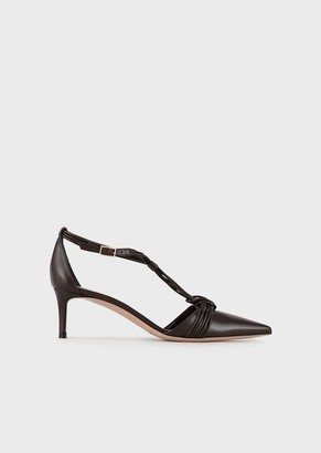 Giorgio Armani Mary Janes In Leather With Intertwining Laces