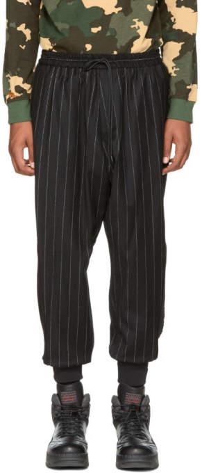 Juun.J Black and White Pinstripe Drawstring Trousers