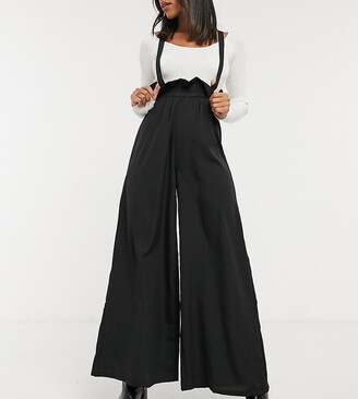 Verona wide leg pants with suspender straps