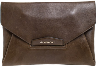 Givenchy Brown Leather Antigona Envelope Clutch