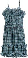 Aqua Multi Plaid Pleated Dress