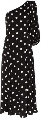 Reformation Lawrence one-shoulder polka-dot midi dress
