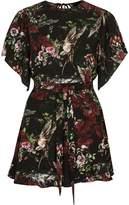 River Island Womens Black floral print flare sleeve tie playsuit