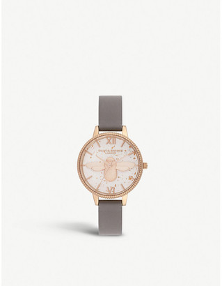 Olivia Burton OB16GD06 Celestial 3D Bee rose-gold plated and leather demi dial watch