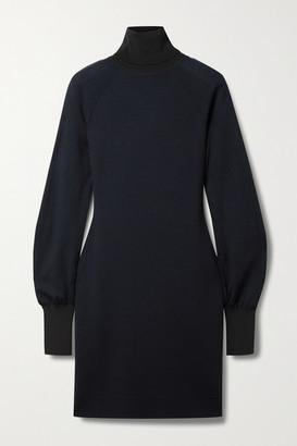 Victoria Beckham Two-tone Wool-blend Turtleneck Mini Dress - Midnight blue
