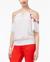Thalia Sodi Embroidered Cold-Shoulder Top, Created for Macy's