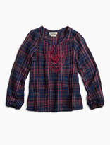 Lucky Brand Lurex Plaid Top W/ Embro