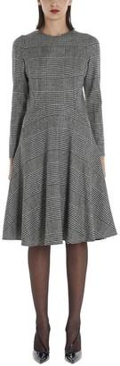 Ermanno Scervino Plaid Long Sleeve Flared Dress