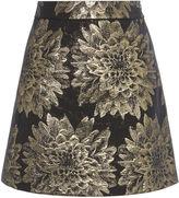Karen Millen Gold Jacquard A-line Skirt - Black/multi