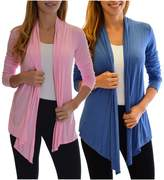 2 Pack Golden Black Fashion Women's Fly Away Open Front Basic Cardigan Pink Denim S