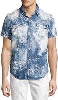True Religion Ryan Bleached Short-Sleeve Denim Western Shirt, Blue