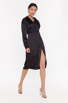Nasty Gal Womens Pleated Wrap Side Midi Dress - Black